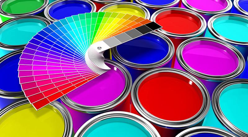 botes de pintura y paleta de colores