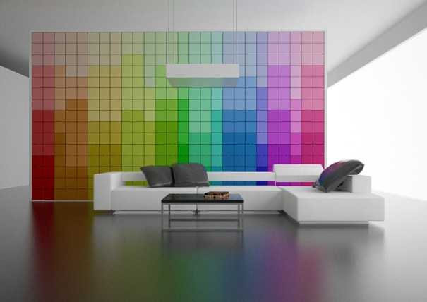 Pared que cambia de color