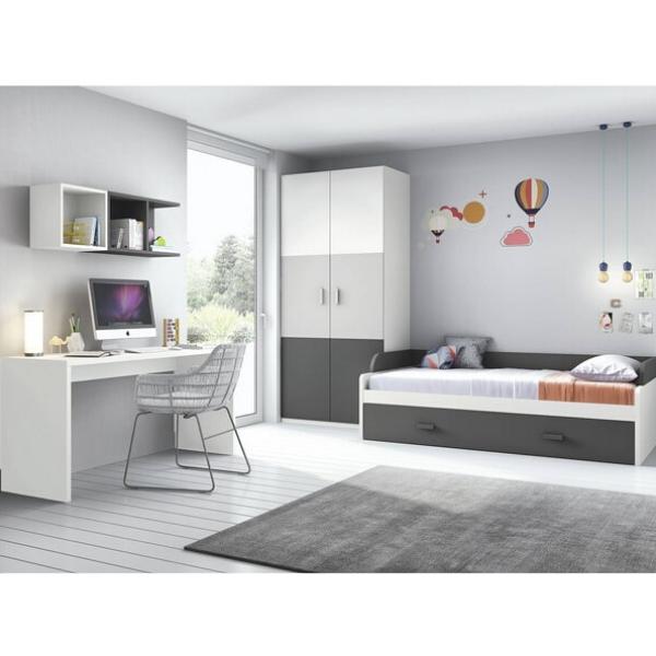 habitación de color gris infantil