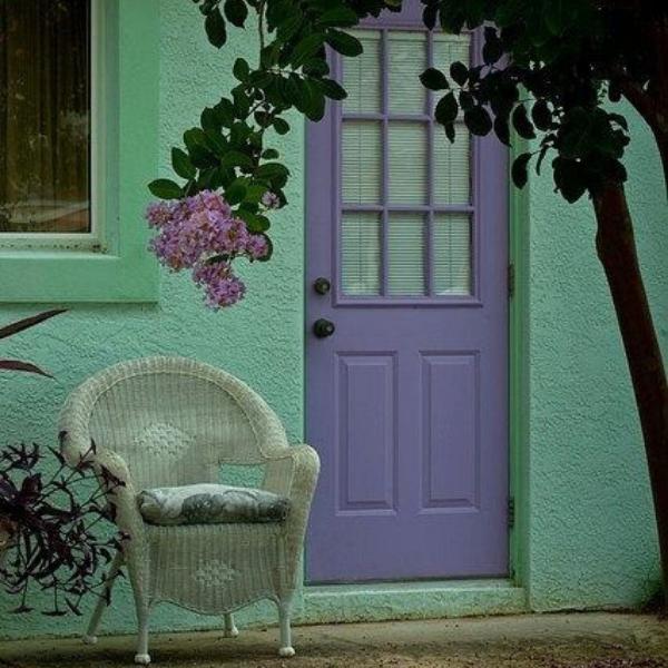 entrada de casa color menta
