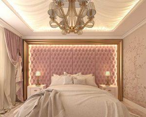 Dormitorio rosa y dorado