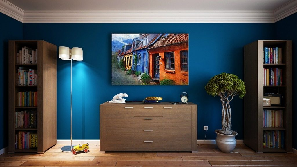 sala color azul