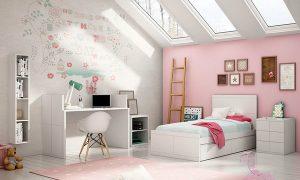 dormitorio rosa con blanco