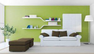sala de estar color verde con blanco