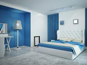 dormitorio blanco con azul