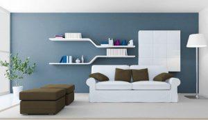 sala color blanco y gris azulado