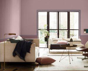 sala color rosa pálido