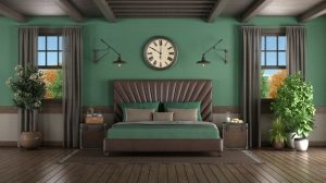 dormitorio verde olivo