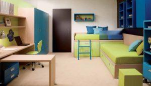 habitación neutra con tonos azules y verdes