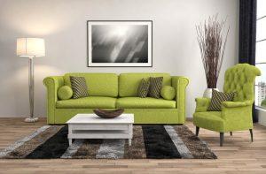 sala de estar neutra con sillones verdes