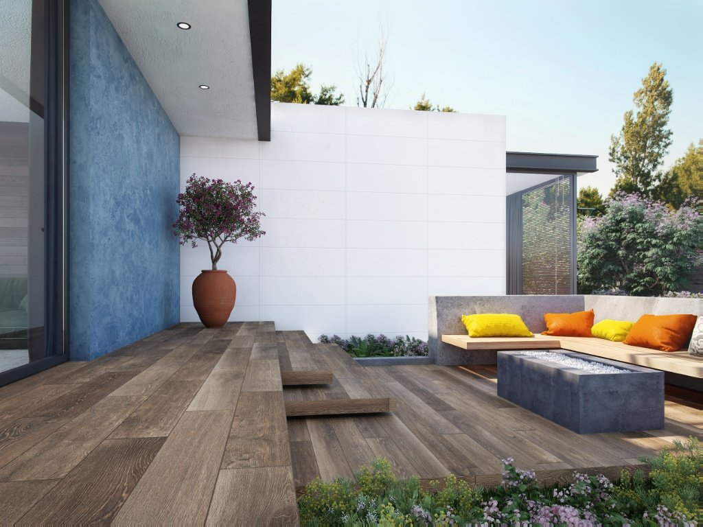 patio con terraza antideslizante